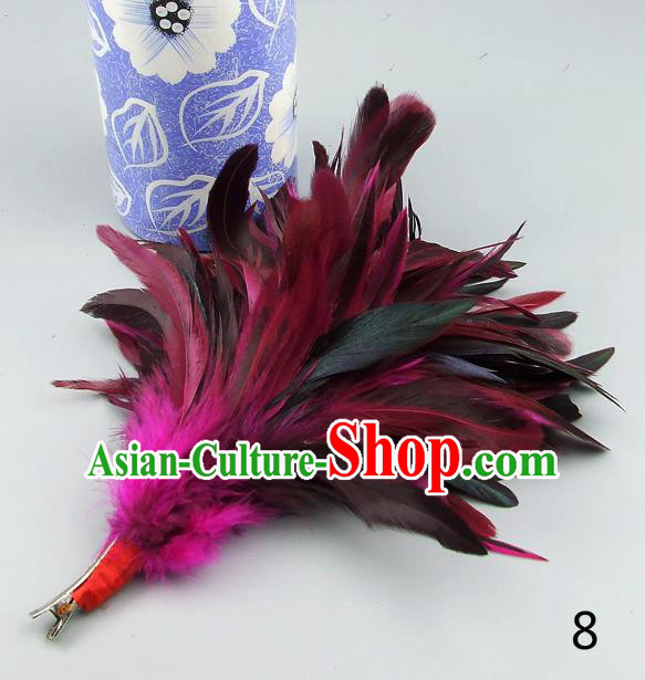 Top Grade Handmade Latin Dance Hair Accessories Rosy Feather Hair Claw, Baroque Style Wedding Bride Hair Stick for Women