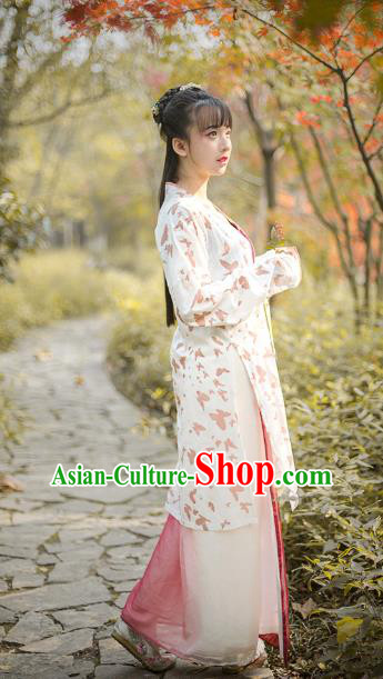 Traditional Chinese Song Dynasty Young Lady Embroidered Costume, Asian China Ancient Hanfu Dress Clothing for Women