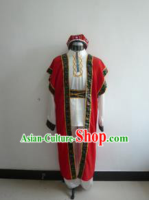 Traditional Chinese Uyghur Nationality Dancing Costume Folk Dance Ethnic Uigurian Dance Costume for Men