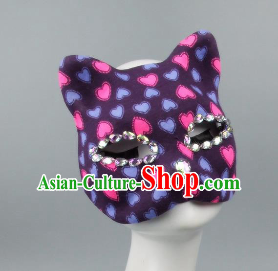Handmade Exaggerate Fancy Ball Accessories Model Show Crystal Cat Purple Mask, Halloween Ceremonial Occasions Face Mask