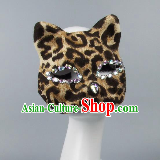 Handmade Exaggerate Fancy Ball Accessories Model Show Crystal Cat Coffee Mask, Halloween Ceremonial Occasions Face Mask