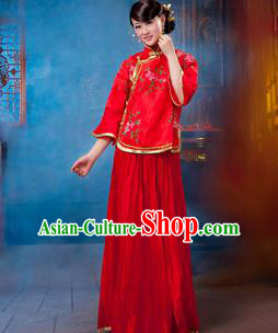Traditional Ancient Chinese Manchu Nobility Lady Red Xiuhe Suit Costume, Asian Chinese Qing Dynasty Embroidered Dress Clothing for Women