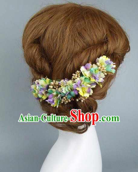 Top Grade Handmade Wedding Hair Accessories Colorful Flowers Hair Clasp, Baroque Style Bride Headwear for Women