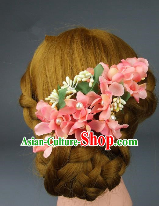 Top Grade Handmade Wedding Hair Accessories Pink Flowers Headpiece, Baroque Style Bride Headwear for Women