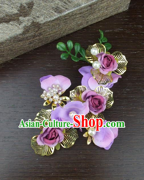 Top Grade Handmade Wedding Hair Accessories Purple Headdress Silk Flowers, Baroque Style Bride Headwear for Women