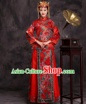 Traditional Ancient Chinese Princess Wedding Costume, Asian Chinese Xiuhe Suit Palace Lady Bride Red Dress Clothing for Women