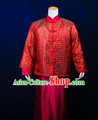 Traditional Ancient Chinese Manchu Wedding Mandarin Jacket Costume, Asian Chinese Qing Dynasty Bridegroom Red Clothing for Men