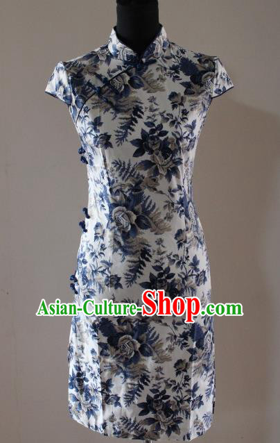 Traditional Chinese National Costume Tang Suit Short Qipao, China Ancient Cheongsam Printing Chirpaur Dress for Women