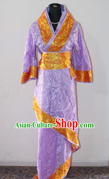 Asian China Ancient Han Dynasty Palace Lady Costume, Traditional Chinese Hanfu Embroidered Purple Curve Bottom Clothing for Women
