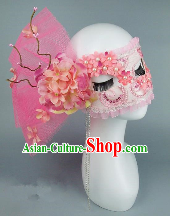 Top Grade Handmade Exaggerate Fancy Ball Accessories Model Show Pink Veil Mask, Halloween Ceremonial Occasions Face Mask