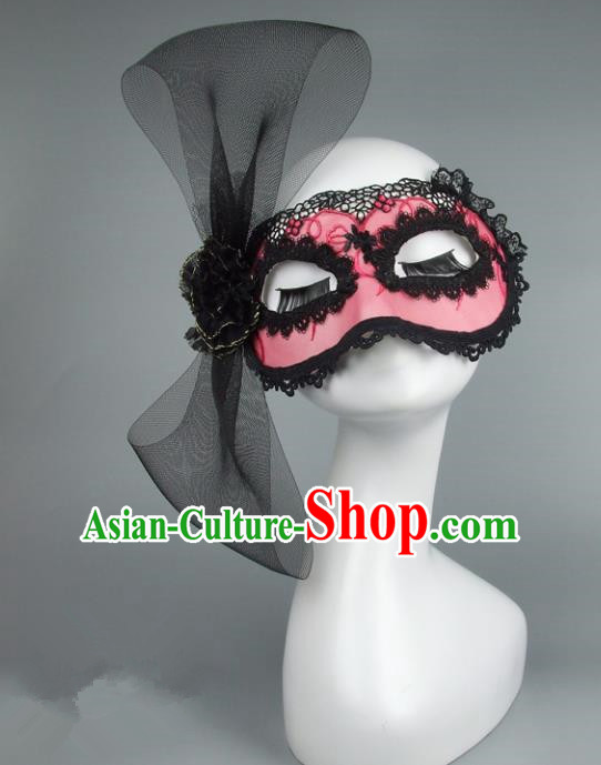 Top Grade Handmade Exaggerate Fancy Ball Accessories Model Show Pink Lace Mask, Halloween Ceremonial Occasions Face Mask