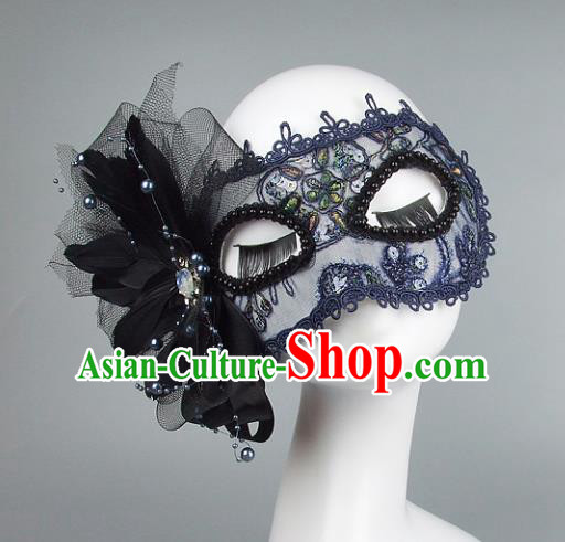 Top Grade Handmade Exaggerate Fancy Ball Accessories Model Show Blue Lace Mask, Halloween Ceremonial Occasions Face Mask