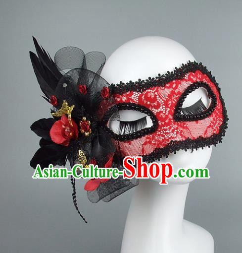 Top Grade Handmade Exaggerate Fancy Ball Accessories Model Show Red Lace Feather Mask, Halloween Ceremonial Occasions Face Mask