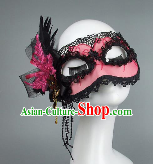 Top Grade Handmade Exaggerate Fancy Ball Accessories Model Show Pink Lace Feather Mask, Halloween Ceremonial Occasions Face Mask