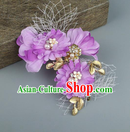 Top Grade Handmade Wedding Hair Accessories Purple Flowers Headdress, Baroque Style Bride Headwear for Women