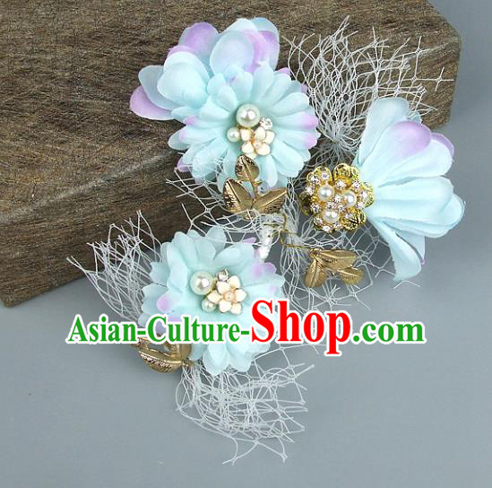 Top Grade Handmade Wedding Hair Accessories Blue Flowers Headdress, Baroque Style Bride Headwear for Women