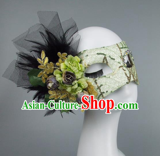 Top Grade Handmade Exaggerate Fancy Ball Model Show Veil Green Flowers Mask, Halloween Ceremonial Occasions Face Mask