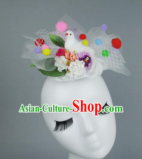 Asian Fancy Ball Flowers Hair Accessories Model Show Headdress, Halloween Ceremonial Occasions Miami Deluxe Headwear