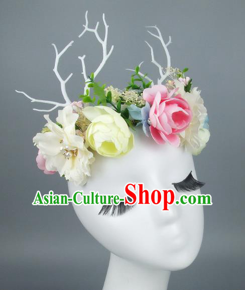 Asian Fancy Ball Flowers Branch Hair Accessories Model Show Headdress, Halloween Ceremonial Occasions Miami Deluxe Headwear