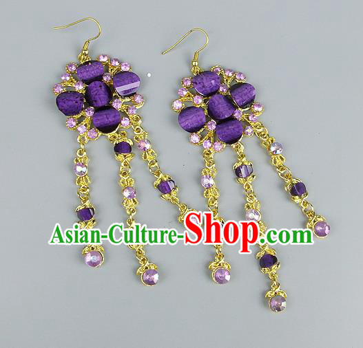 Top Grade Wedding Accessories Vintage Tassel Earrings, Baroque Style Handmade Bride Purple Crystal Eardrop for Women