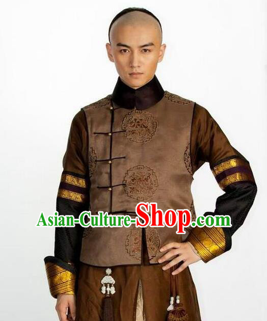 Traditional Ancient Chinese Manchu Prince Costume, Asian Chinese Qing Dynasty Minister Clothing for Men