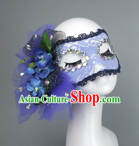 Top Grade Handmade Exaggerate Fancy Ball Accessories Blue Lace Mask, Halloween Model Show Ceremonial Occasions Face Mask