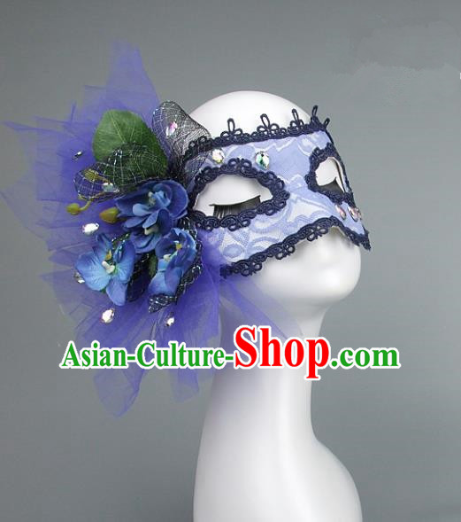 Top Grade Handmade Exaggerate Fancy Ball Accessories Blue Veil Mask, Halloween Model Show Ceremonial Occasions Face Mask