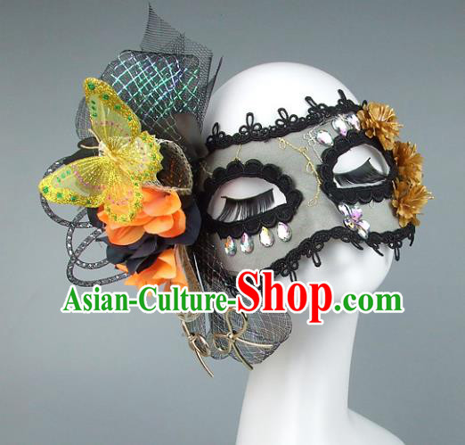 Top Grade Handmade Exaggerate Fancy Ball Accessories Black Veil Butterfly Mask, Halloween Model Show Ceremonial Occasions Face Mask