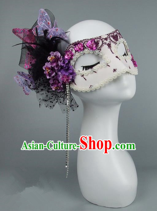 Top Grade Handmade Exaggerate Fancy Ball Accessories Purple Veil Mask, Halloween Model Show Ceremonial Occasions Face Mask