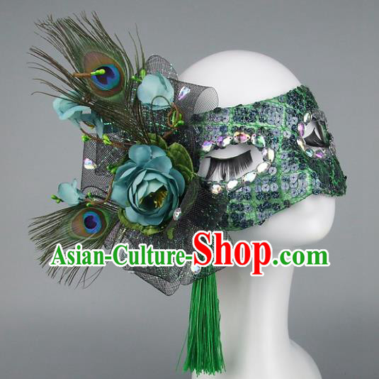 Top Grade Handmade Exaggerate Fancy Ball Accessories Green Feather Mask, Halloween Model Show Ceremonial Occasions Face Mask