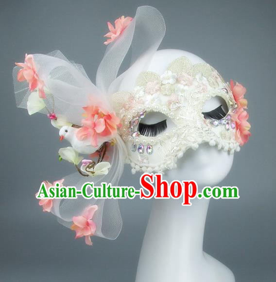 Top Grade Handmade Exaggerate Fancy Ball Accessories Flowers Bowknot Mask, Halloween Model Show Ceremonial Occasions Face Mask