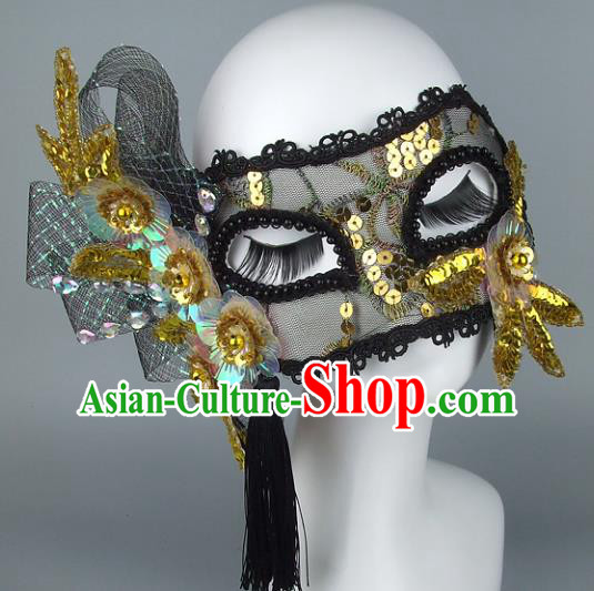 Top Grade Handmade Exaggerate Fancy Ball Accessories Golden Paillette Mask, Halloween Model Show Ceremonial Occasions Face Mask