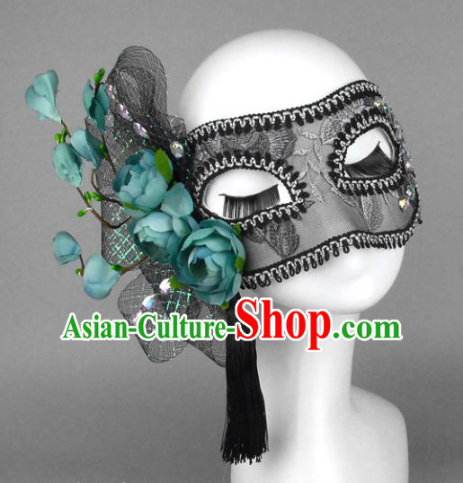 Top Grade Handmade Exaggerate Fancy Ball Accessories Green Flowers Lace Mask, Halloween Model Show Ceremonial Occasions Face Mask