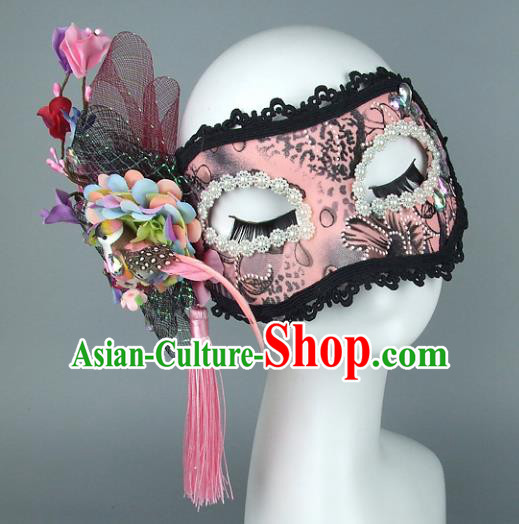 Top Grade Handmade Exaggerate Fancy Ball Accessories Pink Lace Mask, Halloween Model Show Ceremonial Occasions Face Mask