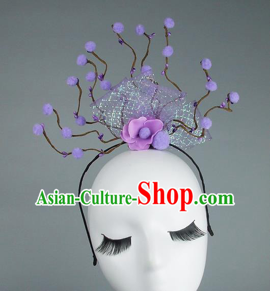 Handmade Halloween Purple Flowers Hair Accessories Model Show Headdress, Halloween Ceremonial Occasions Miami Deluxe Exaggerate Fancy Ball Headwear