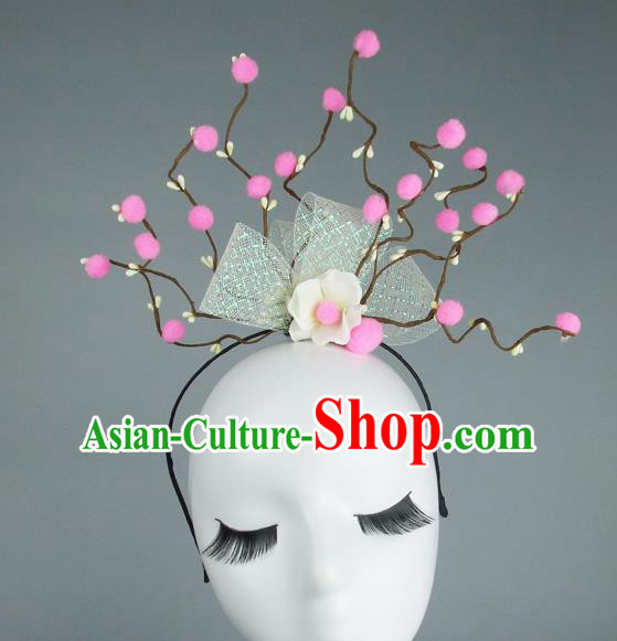 Handmade Halloween Pink Flowers Hair Accessories Model Show Headdress, Halloween Ceremonial Occasions Miami Deluxe Exaggerate Fancy Ball Headwear