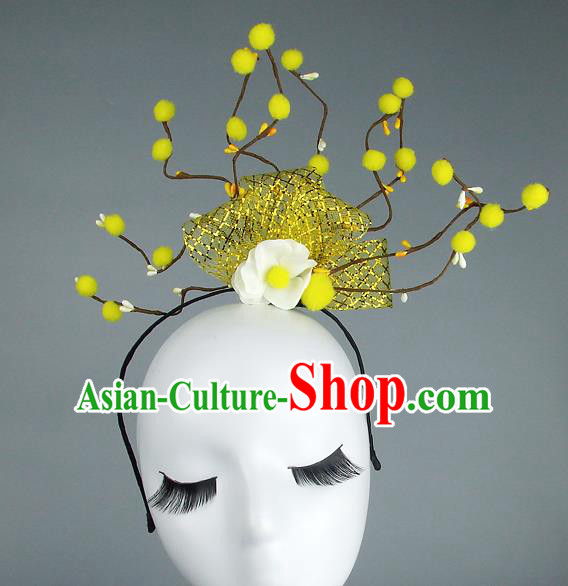 Handmade Halloween Yellow Flowers Hair Accessories Model Show Headdress, Halloween Ceremonial Occasions Miami Deluxe Exaggerate Fancy Ball Headwear