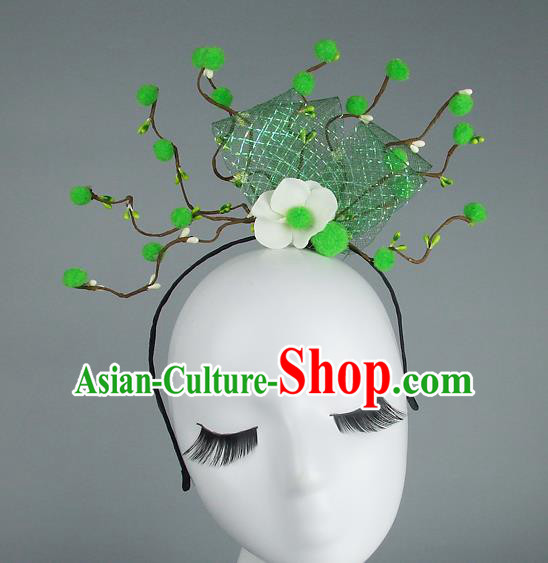 Handmade Halloween Green Flowers Hair Accessories Model Show Headdress, Halloween Ceremonial Occasions Miami Deluxe Exaggerate Fancy Ball Headwear