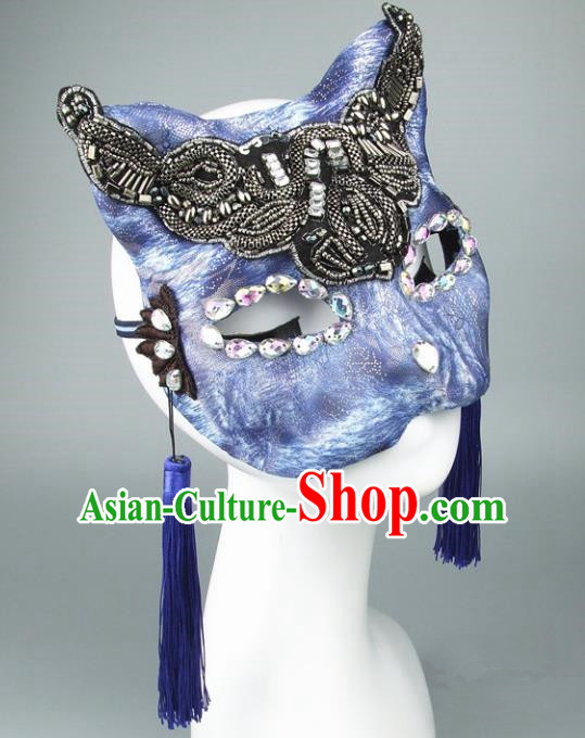 Handmade Halloween Fancy Ball Accessories Cat Blue Mask, Ceremonial Occasions Miami Face Mask