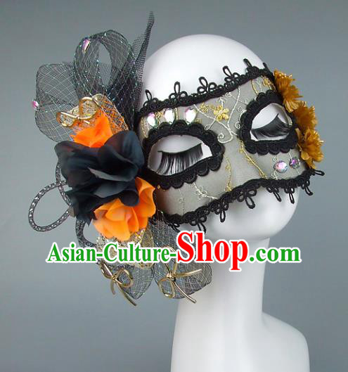 Top Grade Handmade Exaggerate Fancy Ball Accessories Black Veil Mask, Halloween Model Show Ceremonial Occasions Face Mask