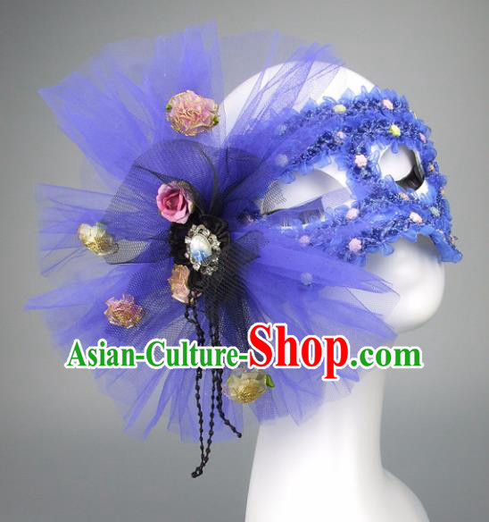 Handmade Halloween Fancy Ball Accessories Cat Blue Veil Mask, Ceremonial Occasions Miami Model Show Face Mask