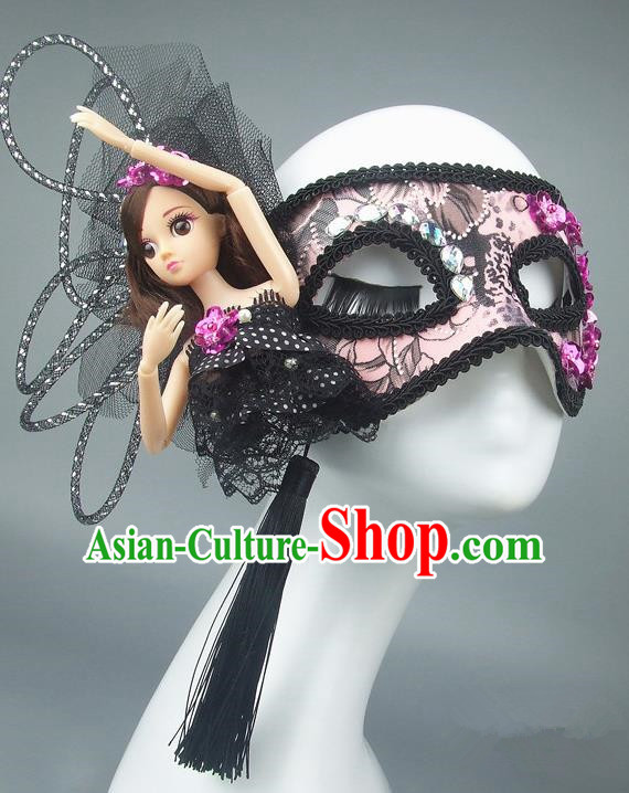 Handmade Halloween Fancy Ball Accessories Mask, Ceremonial Occasions Miami Model Show Pink Lace Face Mask