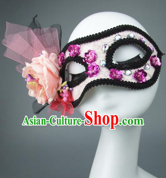 Handmade Halloween Fancy Ball Accessories Pink Veil Mask, Ceremonial Occasions Miami Model Show Face Mask