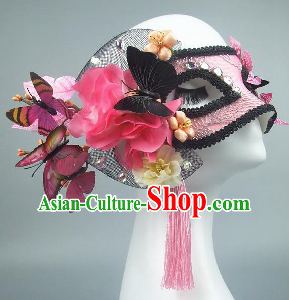 Handmade Halloween Fancy Ball Accessories Pink Lace Butterfly Mask, Ceremonial Occasions Miami Model Show Face Mask