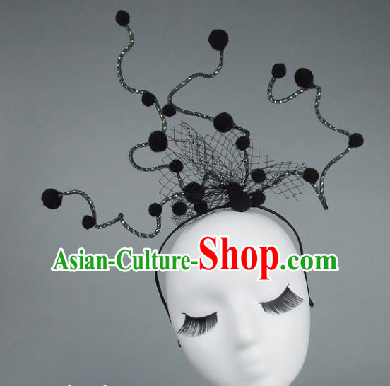 Handmade Halloween Fancy Ball Hair Accessories Black Headwear, Ceremonial Occasions Miami Model Show Headdress