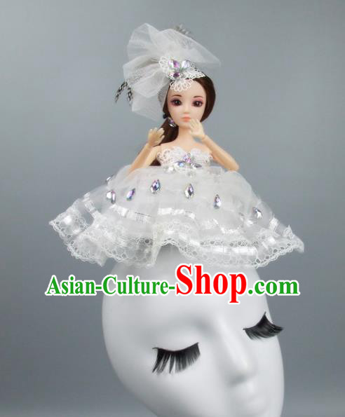Handmade Halloween Fancy Ball Hair Accessories White Veil Doll Headwear, Ceremonial Occasions Miami Model Show Headdress