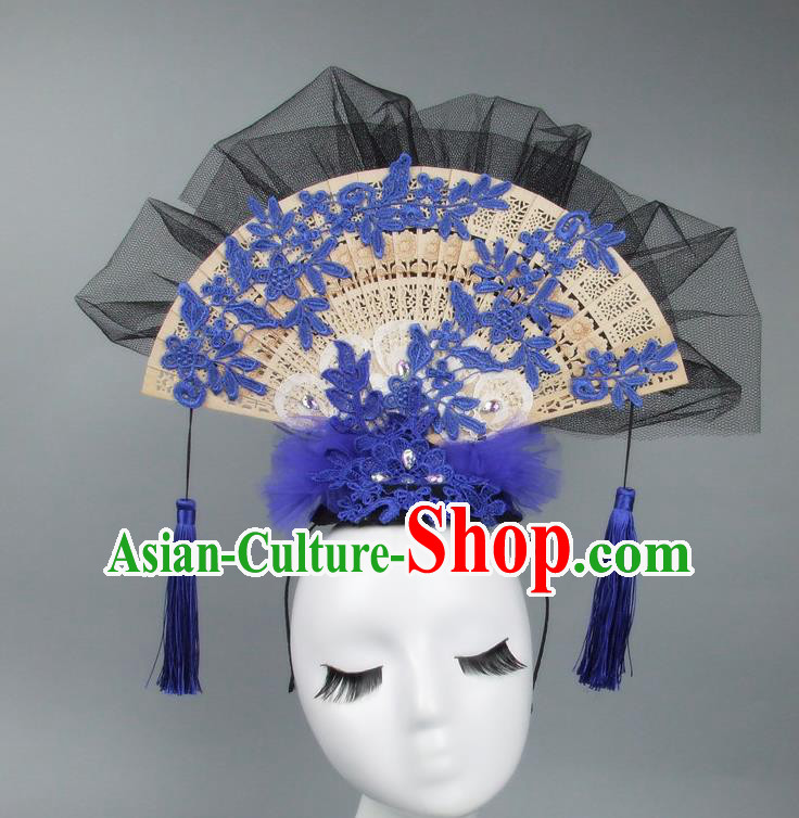 Handmade Asian Chinese Fan Hair Accessories Blue Lace Headwear, Halloween Ceremonial Occasions Miami Model Show Tassel Headdress