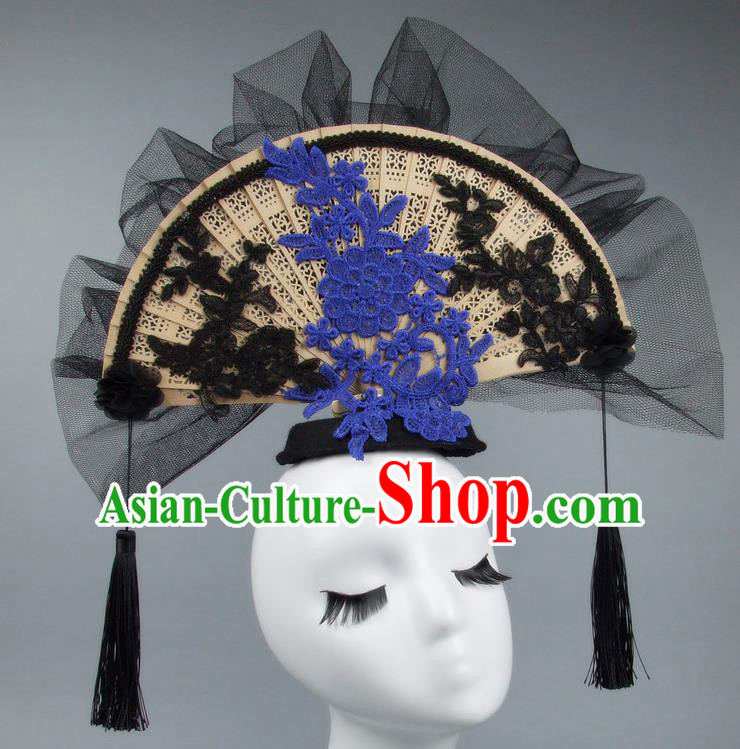 Handmade Asian Chinese Fan Hair Accessories Black Veil Headwear, Halloween Ceremonial Occasions Miami Model Show Tassel Headdress