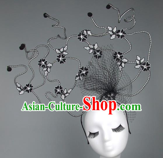 Handmade Halloween Fancy Ball Hair Accessories Black Veil Headwear, Ceremonial Occasions Miami Model Show Headdress