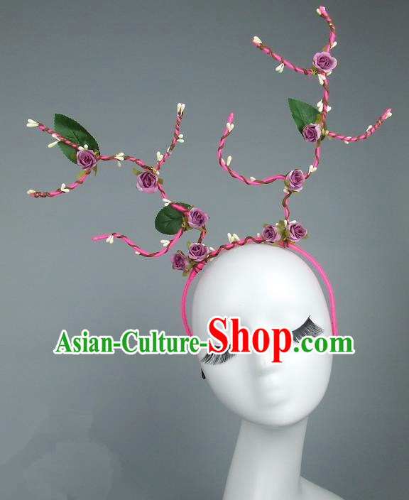 Handmade Halloween Fancy Ball Hair Accessories Purple Flowers Headwear, Ceremonial Occasions Miami Model Show Headdress